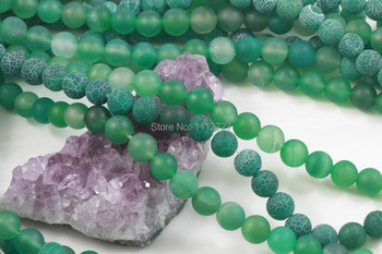 Accessory Crafts Parts 8mm Green Fire Round Beads Matte Chalcedony Balls Finish Strands Jewelry Making Wholesale Fitting Female