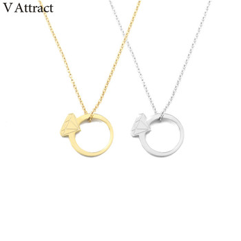 V Attract 10PCS Christmas Jewelry Stainless Steel Rose Gold Collares Chocker Geometric Round Charm Necklaces Pendant For Women