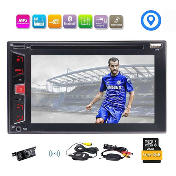 Kablosuz Ters Kamera + 6.2 ''In-Dash Çift Din Araba DVD CD Çalar Stereo GPS Bluetooth Müzik MP3 MP4 FM/AM RDS Radyo 1080 P Video