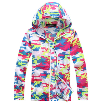 Summer Sun Protect Clothing Men's and Women's Colorful Hooded Jacket Fashion Lovers Loose Camouflage Zipper Coats S-XXXL