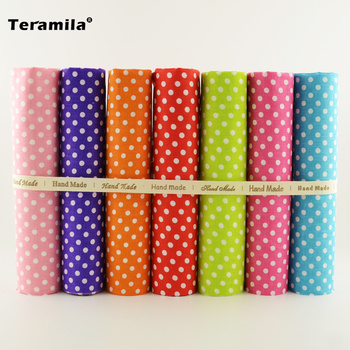 7 PCS Mixed Plain Cotton Fabric Fat Quarters Bundle Tildas for Quilting Meter Fabric Square Sewing Patchwork Dots Design