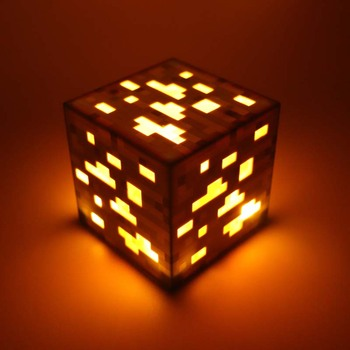 Turuncu Minecraft Light Up Orangestone Cevheri Kare Minecraft Gece ışık LED Action Figure Oyuncaklar Light Up Elmas Cevher # E