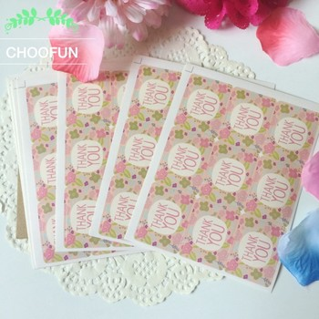 "270pcs(30sheet) Colorful ""Thank you"" With Flowers Sticker For Bottle Packaging Bags DIY Seal Wedding Decoration Stickers ST002"