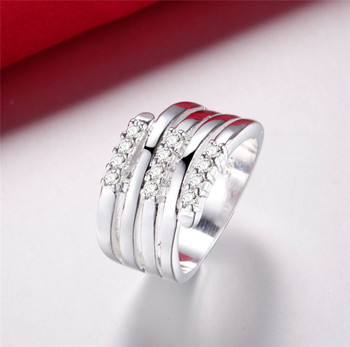 925 Silver Crystal Lines Rings for Women Wedding Engagement Accessories Femme Bague Anel Wholesale Xmas Gifts
