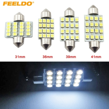 FEELDO 2 Adet Beyaz Oto LED Ampuller 31mm 36mm 39mm 41mm 16SMD 1210/3528 Chip Festoon Dome Harita Kargo Araba LED Işık # AM1216