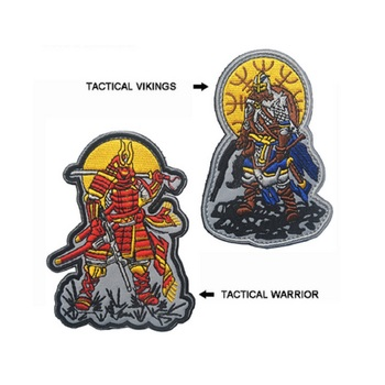 3pcs/lot 3D Embroidery armband Loop And Hook Tactical vikings patch armband Tactical warrior patch Samurai badges