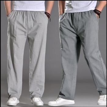 L-4XL Plus Size NEW Spring and summer fluid pants men loose thin casual pants straight linen pants Breathable trousers