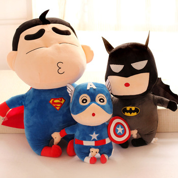 Gift for baby 1pc 45cm creative Crayon Shin chan become superman Batman Captain America plush doll novelty children stuffed toy